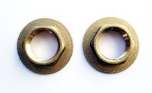 "PAIR OF SOLID BRASS 1/2"" BSP THREAD BASIN TAP FLANGED BACKNUTS"